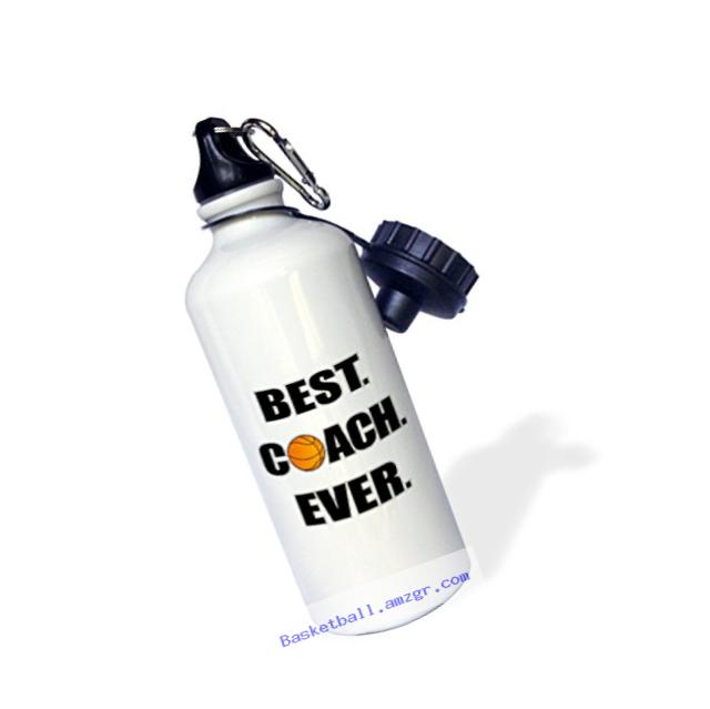 3dRose wb_212088_1 Basketball Best Coach Ever Sports Water Bottle, 21 oz, White